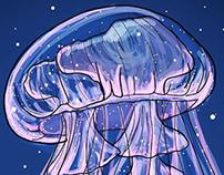 Underwater Bliss -JellyFish Illustration