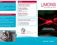 """Physics Intitute - University of Mons"" trifold leaflet"