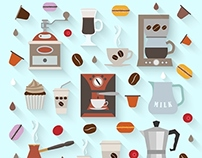 Coffee Icons Set in Flat Style
