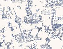 Dystopian Toile de Jouy - wallpaper pattern
