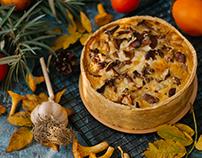 Киш с лесными грибами, курицей и цукини. Foodphoto
