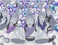 15 Mongolian Queens_Stained Glass art