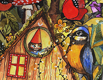 Gnome home watercolor paint