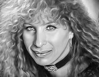 Barbara Streisand Digital Oil Painting by Wayne Flint