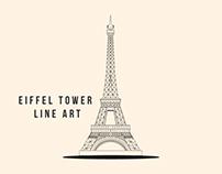 Eiffel tower Line art