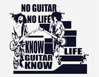 No Guitar No Life Know Guitar Know Life T-Shirt Design