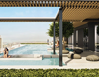 Architectural Rendering for a Rooftop Pool