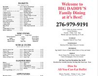Big Daddy's Family Dining Menu Design
