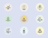 Nepal Vector line Arts - Illustrator
