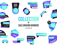 Vivid Colors Origami banners design