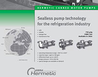 Hermetic Pumps sales flyer and grand opening invitation