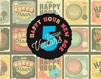 Happy Hour New Age Vintage Vectors Collection.
