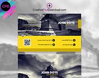 Creative Yellow And Grey Business Card Mockup PSD