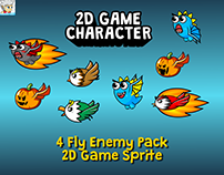 4 Fly Enemy Pack 2D Game Sprite