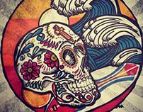 Surfer Calavera: Tattoo para el Enfa.