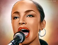 """Sade """"Sings"""" Digital Oil Painting by Wayne Flint"""