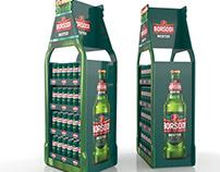 Bottle-shaped beer display for Borsodi brands.