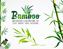 Bamboo. Watercolor vector illustrations.