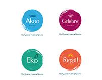 Logomarcas Akua,Celebre, Eko e Reppi!