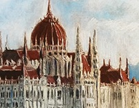 """The Parliament of Budapest"". Pastel chalks. 42*30 cm."