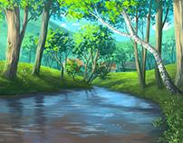 Digital Painting - rural river