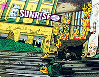 ILUSTRACION TABLA SUNRISE SKATEBOARD