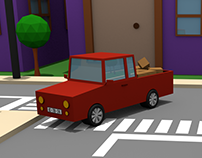 3D Animation | Car in a city/village