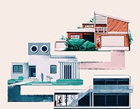 Illustrations for Rogue Magazine: Houses from Films