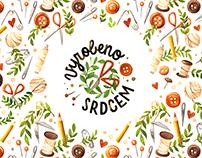 Vyrobeno srdcem - logo and pattern