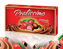 Packing design for chocolates with strawberry taste