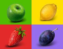 Series of fruit illustrations