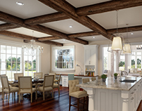 Kitchen. Gambrel style house, Greenwich, CT, US.