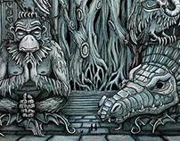Jungle Doorway papercut illustration