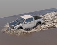 Truck vs. Muddy Water Liquid Simulation