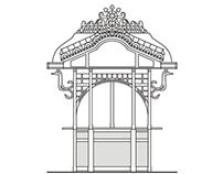 Desenho vectorial Mercado e Quiosque Campo Ourique