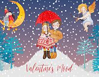 Valentine's day mood watercolor