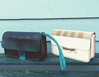 Wooden and leather Clutch Bag