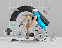 Fietssport. The illustration style