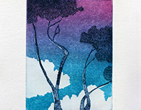 Color etching - Trees