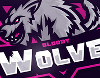 WOLF MASCOT LOGO FOR BLOODY WOLVES