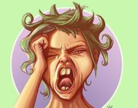 Yawning Digital portrait girl
