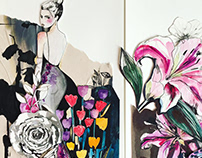 Fashion +floral painted collages