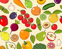 Fruits and vegetables collection - illustration set