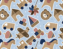 Wooden toys. Kids pattern. Children's apparel.