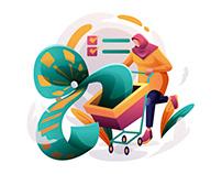 Shopping List Cart Illustration
