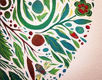 Botanical Mandala Mural