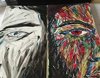 Autoportrait sur toile, peinture acrylique