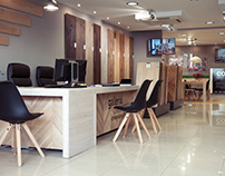 Interior design hardwood floors showroom.