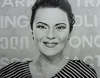 """Gvanca Lagidze"" Portrait drawing by Tiko Sanikidze"