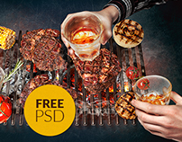 Free billboard collage PSD | Steaks